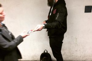 Scroobius Pip hand out