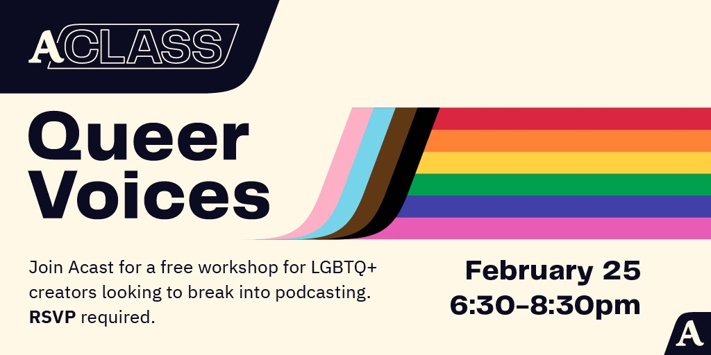 AClass Queer Voices info February 25 6.30-8.30pm RSVP required