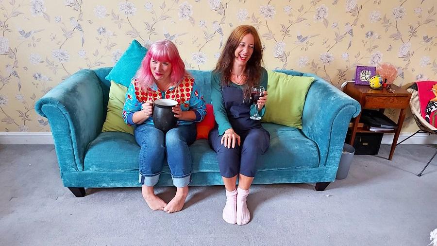 Lou and Sally on a sofa